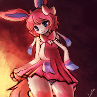 Sylveon anthro by luminaura
