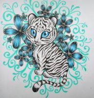 Blue Eyed Anime Tiger by RavenDANIELS