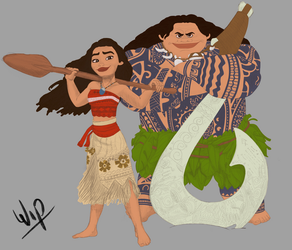 Moana and Maui Colour Work in Progress by LisaGunnIllustration