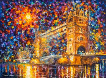 London Bridge 3 by Leonid Afremov by Leonidafremov