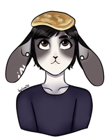 Matt with pancake on his head by lizathehedgehog