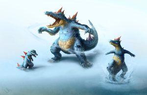 Totodile Croconaw and Feraligatr