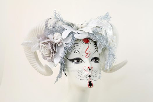 Winter Goddess Vegan Ram Headdress by ctrlaltvamp
