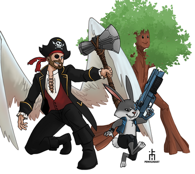 Pirate Angel and Crew by pencilHead7