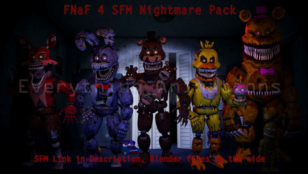 FNaF 4 SFM Pack (SFM in des, .blend files to side) by EverythingAnimations
