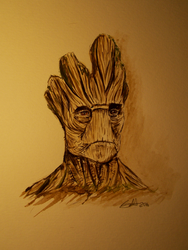 Watercolor: Groot - Guardians Of The Galaxy by ScarlettCindy