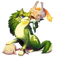 art trade -- Wolf!Link And Midna by onisuu