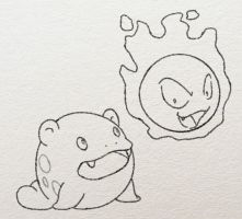 Spheal and Gastly sketch