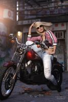 Biker ride in China town by janedj