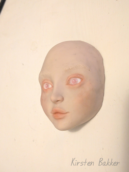 Girl's face in polymer clay WIP by kirstenbakker