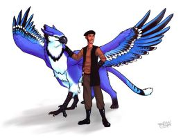 Draeg and Blue-Jay Gryphon by Merystic