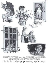 Harry Potter: Book 2 Chapter 2 Vignette Drawings by TheGeekCanPaint