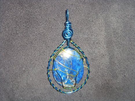 Lapis Pendant - Blue/Gold Wire by ItsAWrap