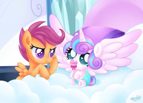 Princess Flurry Heart and Scootaloo by iMoshie