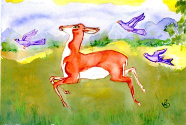 Fawn And Birds Or Deer