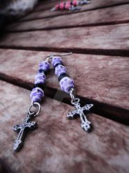 Purple Skull + Cross Earrings by Tattooed-Gumball