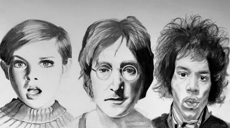 Twiggy, Lennon and Hendrix by lauraehicks