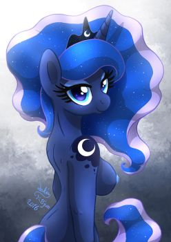 MLP FIM - Shiny Anthro Princess Luna In The Light by Joakaha