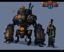 Torchlight 2 - Unused concept (Warmachine and Nox) by Scuro