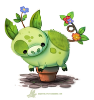 Daily Paint 1281. Pot-Bellied Pig by Cryptid-Creations