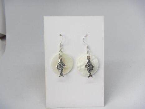 Herrings with fresh water shell  pendants and ster by IngaleCreations
