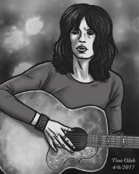 Mick Jagger with a Guitar by Kittensoft