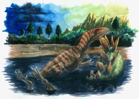Allosaurus in tarry pit by T-PEKC