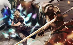 cloud vs sephiroth by longai