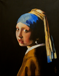 Acrylic Study of the Girl with the Pearl Earring by NorthumbrianArtist