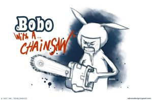 bobo with a chainsaw by GANZATRONIQUE