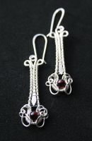 Handmade Sterling Earrings with Garnet by WrappedbyDesign
