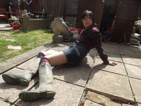 Trying On Hunter Wellies by CharDust