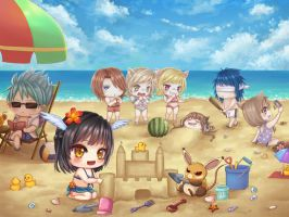 Chibi Comm: Playing in Beach by CingArt