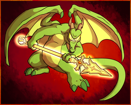 Commission - Pyro and the Golden Spear by Knazgle