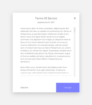 Daily UI #089 - Terms Of Service by Terrance8d
