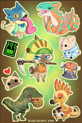 Monster Hunter Sticker Sheet by BluevanDeurs