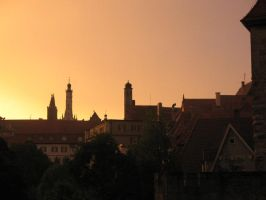 Red Sky over Rothenburg by nathies-stock