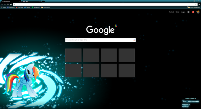 Rainbow Dash Google Chrome Theme by Thorinair