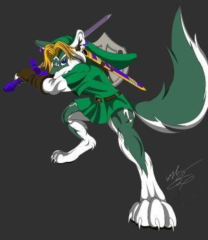 Anthro Wolf Link Color by GunZcon