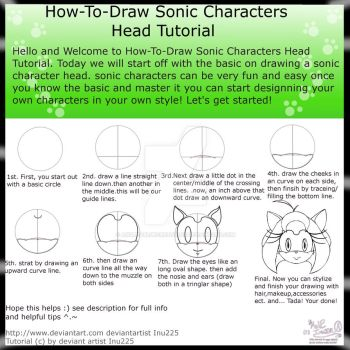 How To Draw Sonic Characters Head Tutorial by Inu225