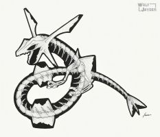 Skeletal Rayquaza by WolfJayden