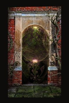 At the garden door by Audrey-Dugan-Art