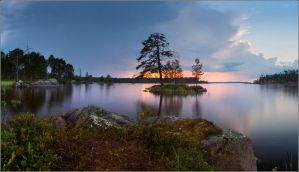 Summer landscape with island and sunset by YuppiDu
