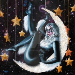 BLACK CAT 'FLY ME TO THE MOON' by FredIanParis