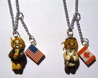 Hetalia - Canada and America necklaces by ShiversTheNinja