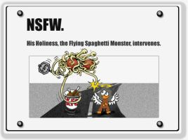 NSFW: Flying Spaghetti Monster by sethness