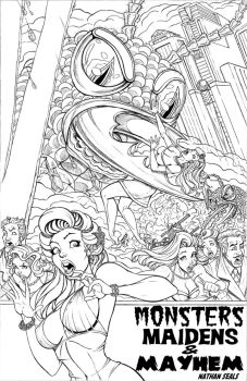 MONSTERS MAIDENS and MAYHEM cover pencils by nathanscomicart