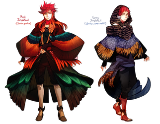 Plume Parade: Red Junglefowl and Grey Junglefowl by Cioccolatodorima