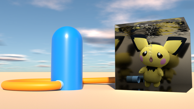 Pichu trapped inside the metal box by kuby64