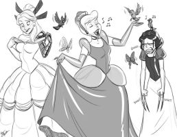 Magik, Gwenpool and X-23 as Disney Princesses by alienhominid2000